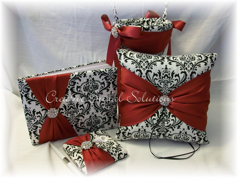 Black & White Madison Damask With Dark Red Wedding Ring Pillow Flower Girl Basket Guest Book Pen