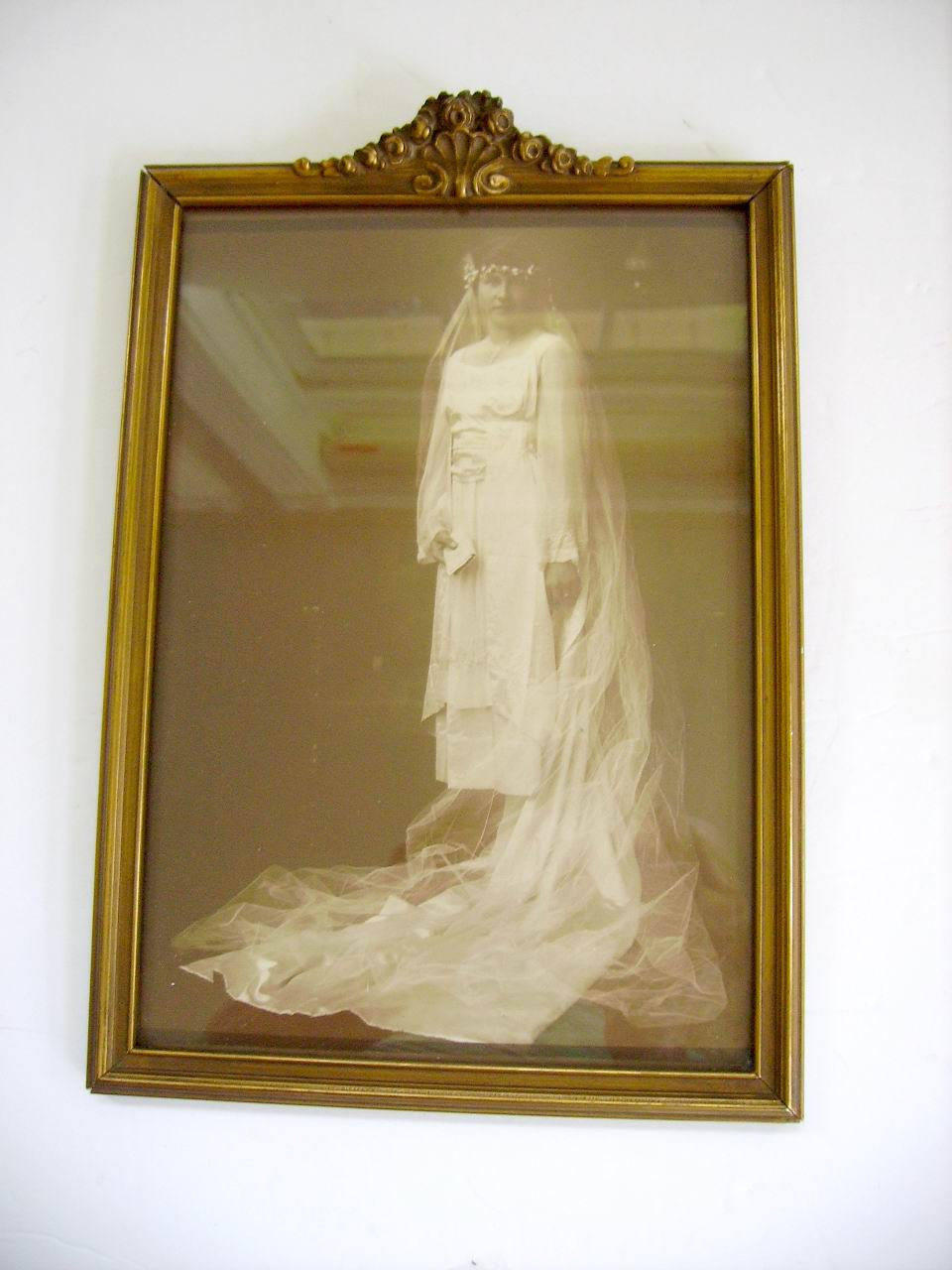 Antique 1800's Victorian Wedding Portrait in Barbola Roses Gesso Frame/Victorian Gown