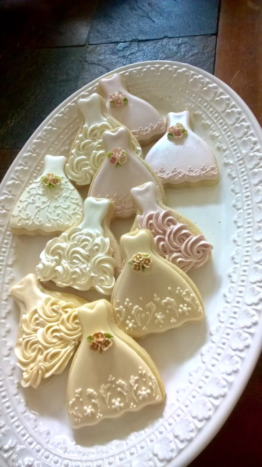 100 Pieces Petite Sized Wedding Dress Cookies - Cookie Favors, Cookies, Bridal Shower Wedding Gown Cookies
