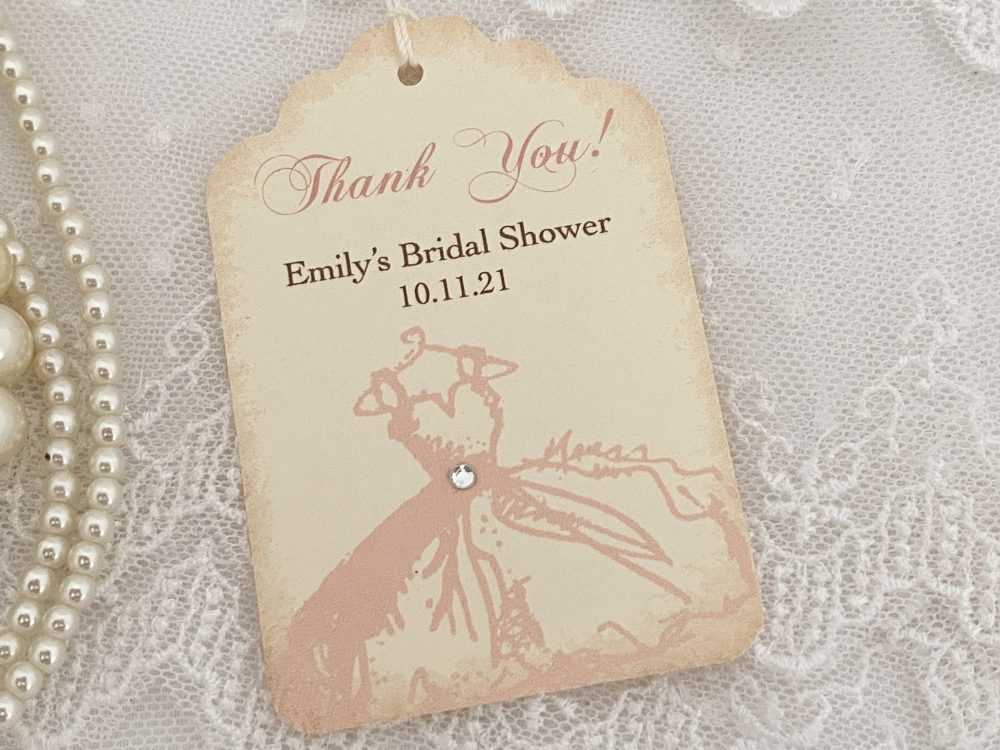 Bridal Shower Tags Favor, Thank You Tags, Pink Wedding Gown
