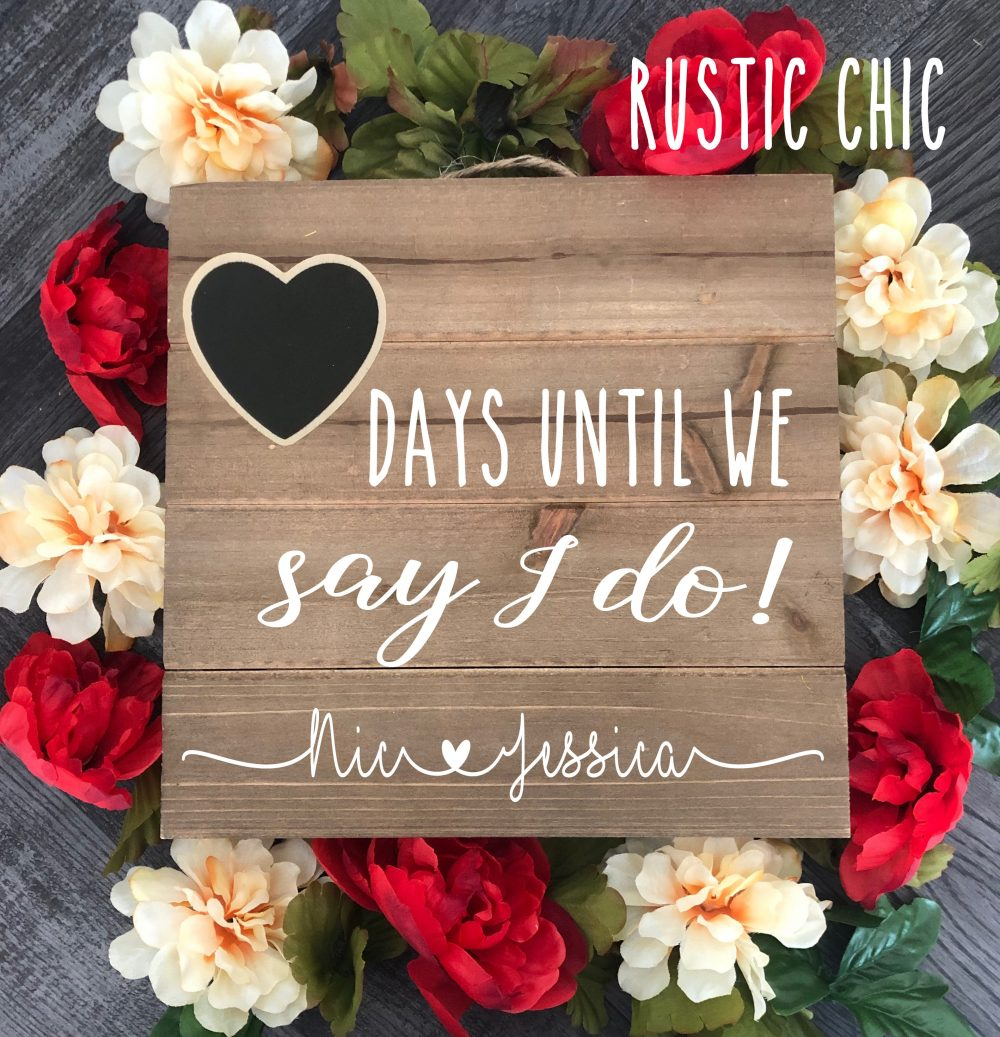 "Engagement Gifts For Couple, ""Days Until We Say I Do"", Wedding Countdown Chalkboard Sign, Gift Her, Wooden Sign"