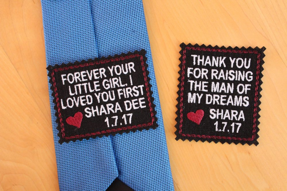 Set Of 2 Wedding Tie Patches, Father The Groom Gift, Man My Dreams, Black, Heart, Custom, Embroidered, Personalized, Square, Ts12-13