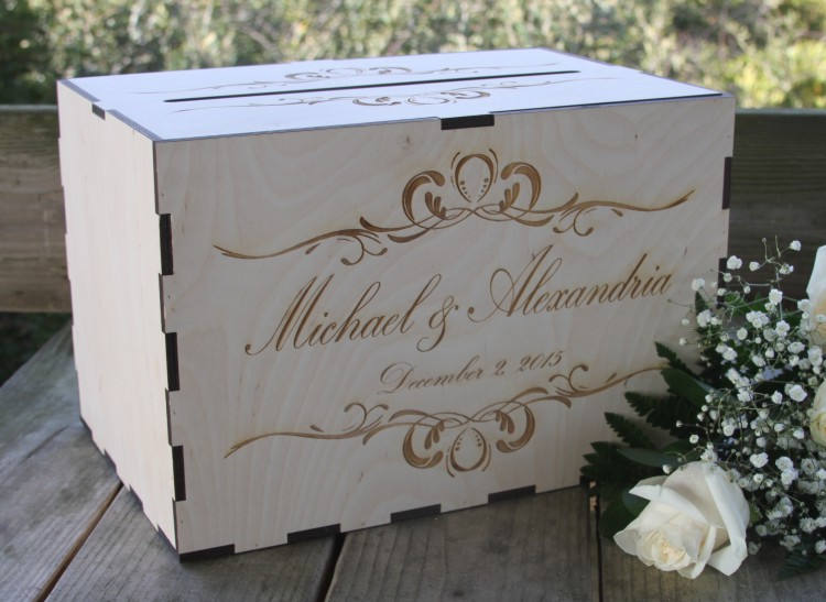 Card Box With Slot, Rustic Wedding Box, Holder Decor, Personalized For