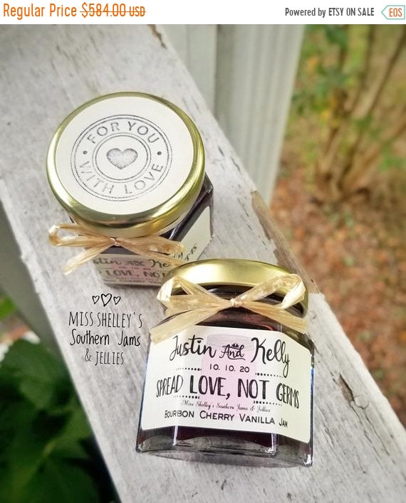 20% Off Sale 180 | 1.5Oz Rustic Jam Wedding Favors, Fall Personalized Guest Bridal Shower Edible Favo