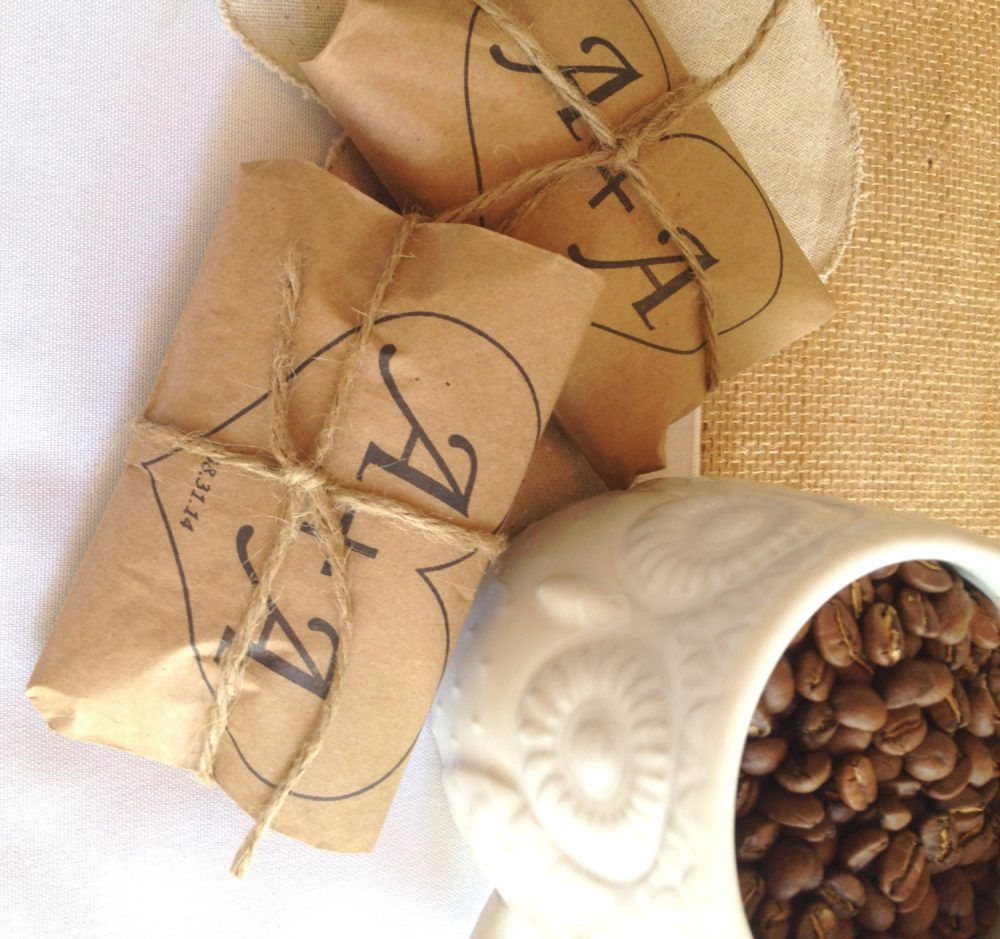 Unique Spring Wedding Favors. Set Of 50 With A Custom Stamp. Rustic Coffee Wedding Favors, Roasted Love