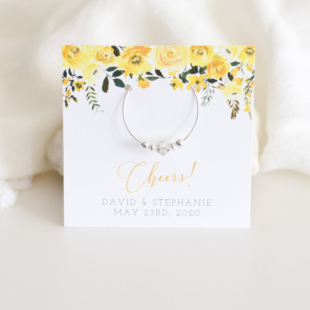 Yellow Wedding Favors For Guests Personalized, Summer Favors, Spring Table Decor, Swarovski Crystal Wine Charms