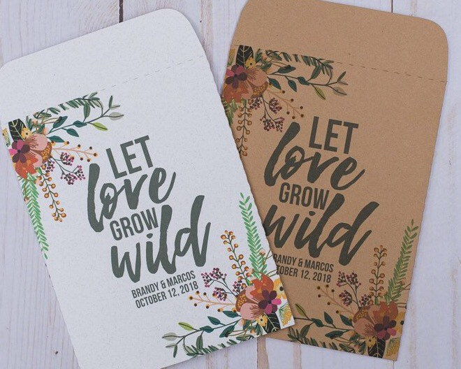 Wedding Favors Seed Packets Let Love Grow Wild Autumn Fall Personalized Envelope White Kraft Rustic Custom Floral Seeds