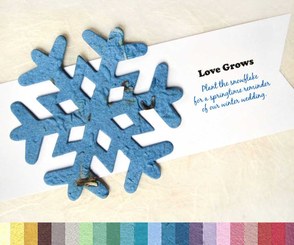 Seed Paper Snowflakes Size Large - Eco Friendly Winter Wedding Favors