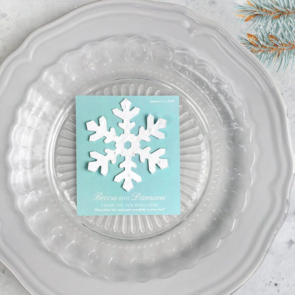 25 Plantable Snowflake Wedding Favors - Personalized Your Color Choice 3.675 X 4.25 Inches Seed Paper Winter