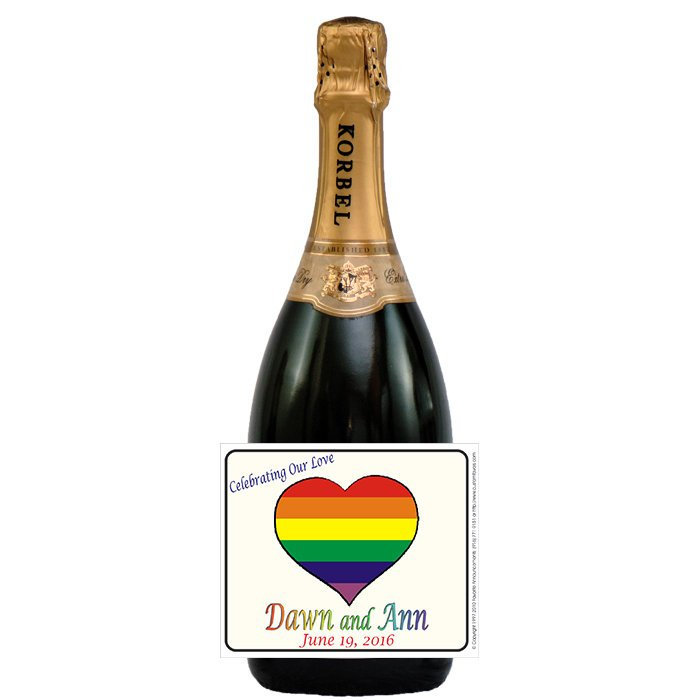 Lesbian Wedding Labels, Gay Marriage Equality, Rainbow Heart, Wine Favors, Favor, Rehearsal Dinner | Set Of 24(L262