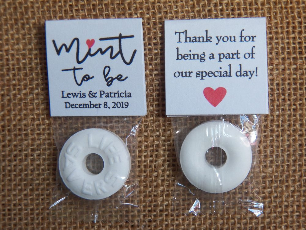 50 Mint To Be Favors, Personalized Wedding Mints, Bridal Shower To