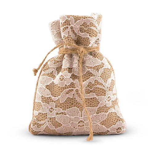 Rustic Lace Wedding Favor Bags With Burlap | Pack Of 12 Country