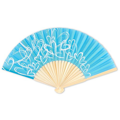 36 Personalized Contemporary Heart Folding Silk Fans Outdoor Wedding Favors - Multiple Colors To Choose From