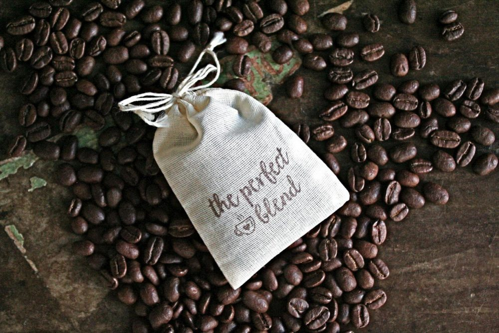 Coffee Or Tea Favor Bags For Wedding, Party, Shower - Cotton Drawstring Gift Bags Hand Stamped, The Perfect Blend Gift Guests