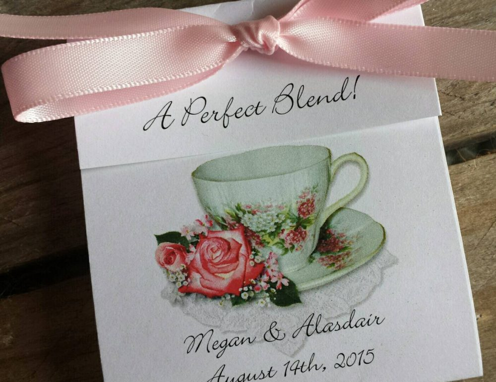 Coral Wedding Tea Favors - {Set Of 8} Pretty in Pink Rose Teacup A Classy Personalized Afternoon Favor For Bridal Shower