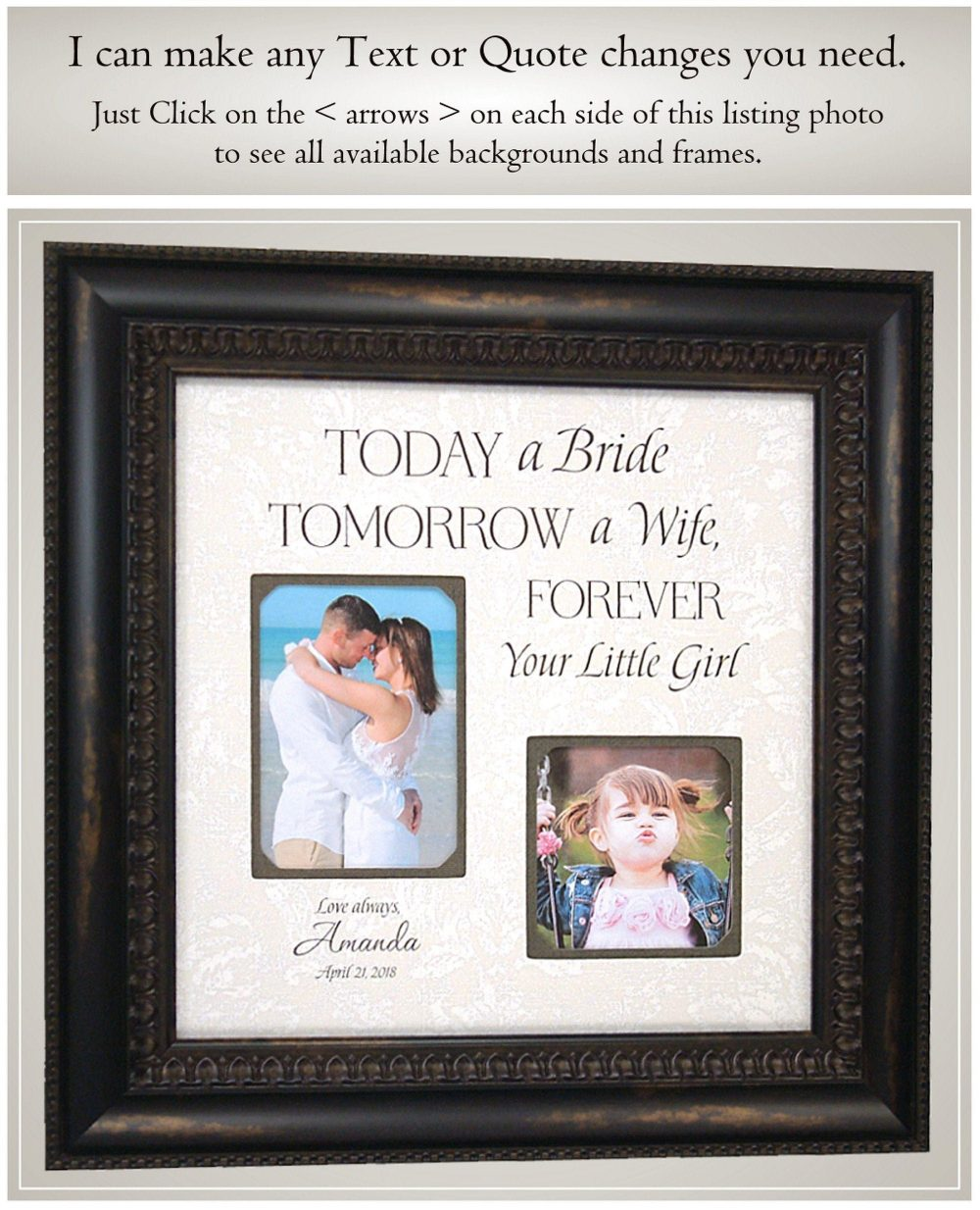 Wedding Gift For Parents Of The Bride, Father Bride Dad From Daughter