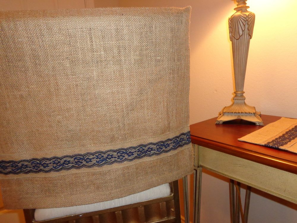 Burlap Jute Chair Back Cover W/Navy Blue & Lace Trim, Kitchen Chairs, Bar Stools, Dining Rustic, Pub Table, Desk/Dorm