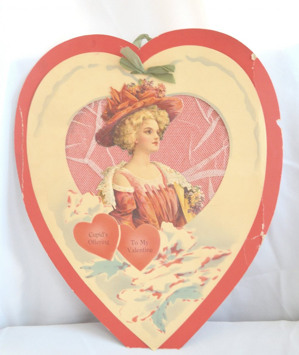 Valentine's Card Large Gibson Girl Red Heart Lace Trim