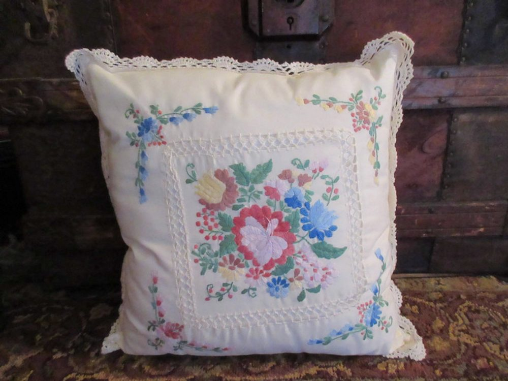 Decorative Throw Pillow Embroidered Flowers Lace Trim