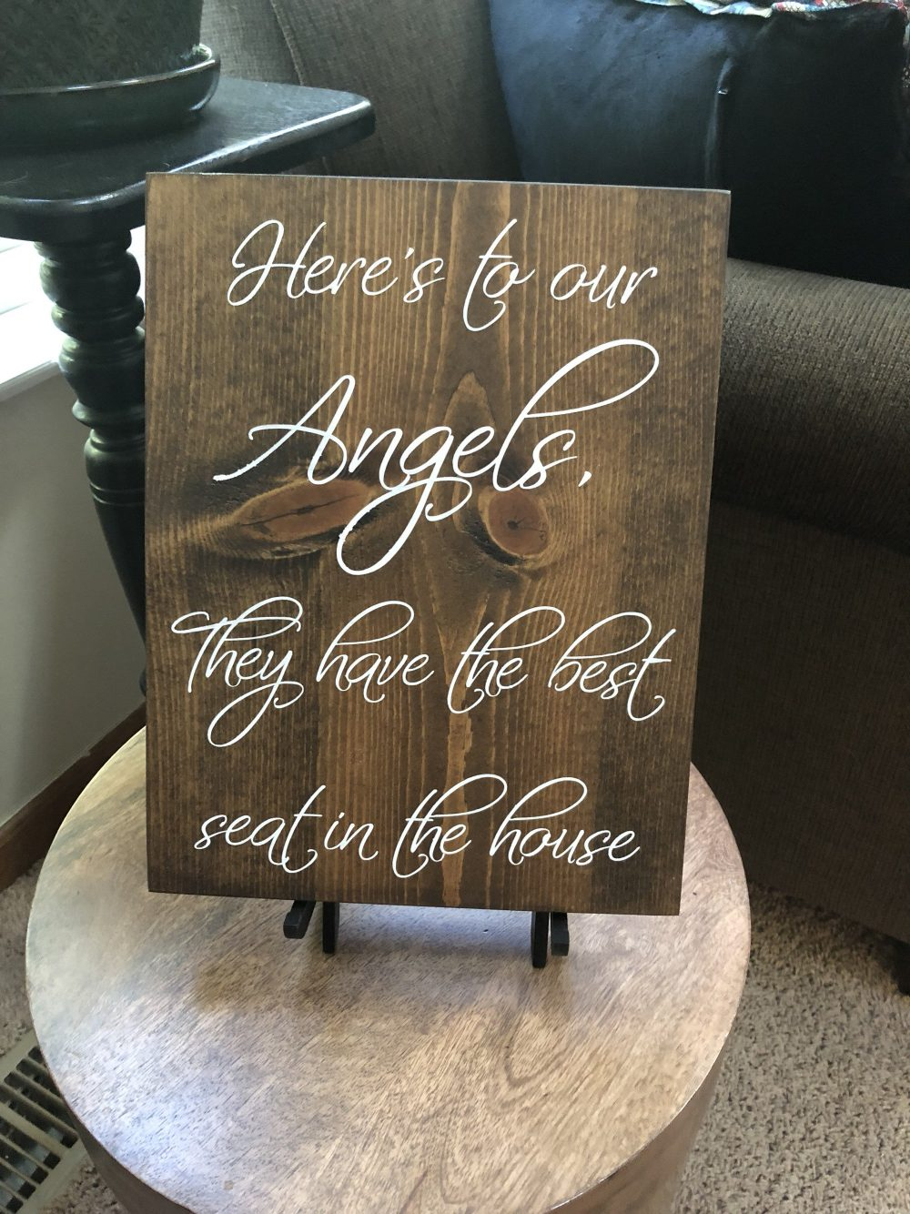 Memory Table Sign | Angels Have The Best Seat Watching From Heaven Wedding Decorations Memorial For Weddings