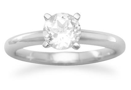 White Topaz Solitaire Engagement Ring in Sterling Silver
