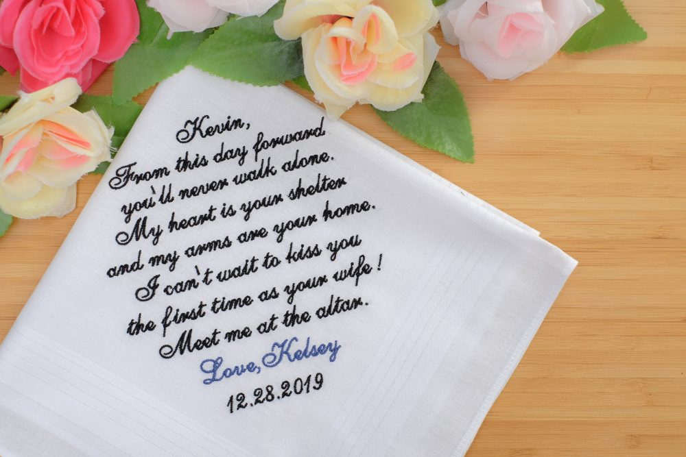 Embroidered Groom Gift From Bride, Wedding For Groom, Personalized Handkerchief, Grooms Gift, Bride