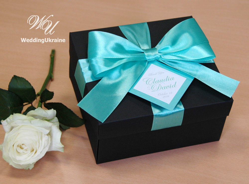 Elegant Gift Box With Tag, Satin Ribbon & Big Doubled Bow - Custom Personalized Wedding Favor Boxes For Guests Black Mint