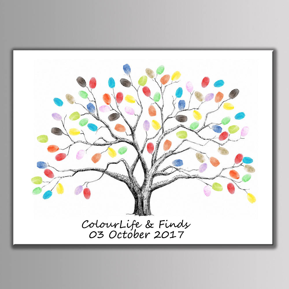 Personalized Wedding Fingerprint Guest Book Tree With 6 Color Ink Pad, Tree, Guest Book, Wedding Keepsake, Thumbprint Tree