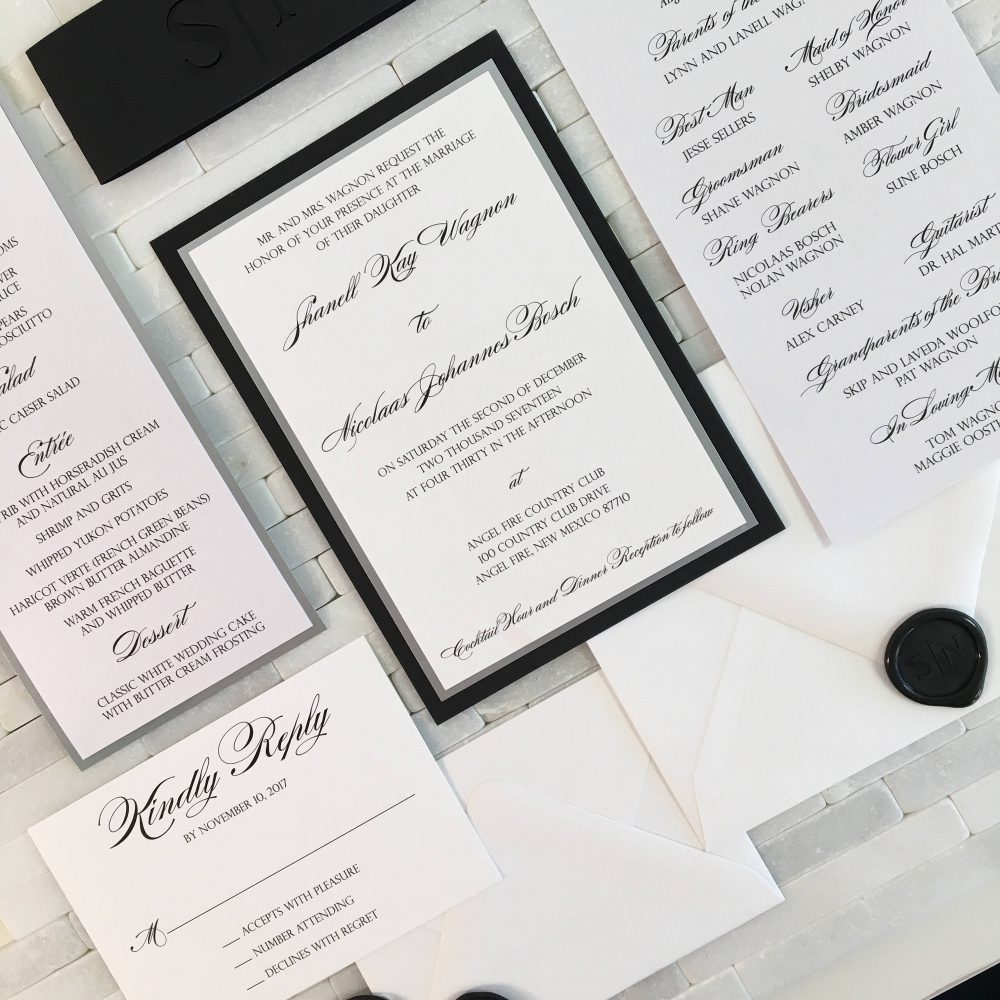 Black & White Wedding Invitation With Laser Cut Belly Band, Silver Mirror