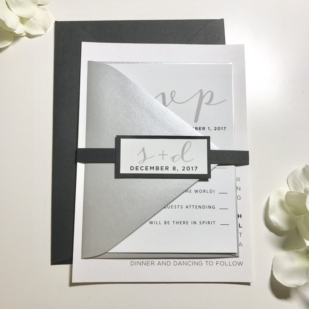 Wedding Invitations Black & Silver, Simple Elegant Invites, Silver Metallic Invitations, Invitation Suite Belly Band