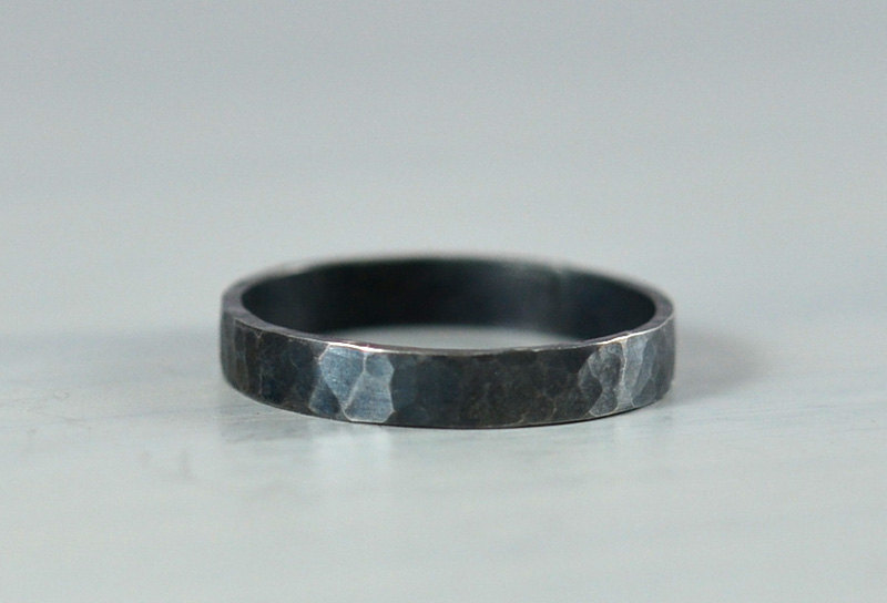 sterling Silver Hammered Wedding Ring 3mm Band Oxidized Black Finish