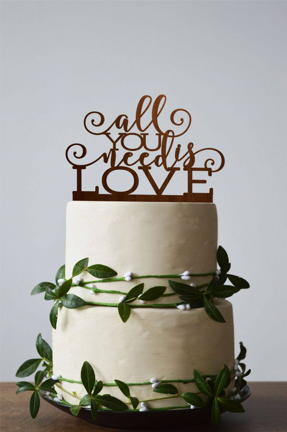 All You Need Is Love Cake Topper, Custom Wedding Calligraphy Wedding Toppers