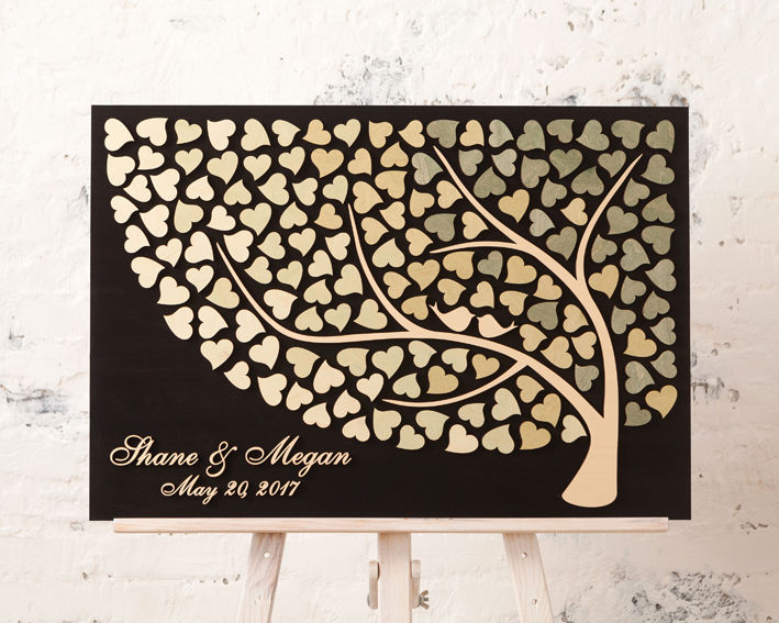 Wedding Guestbook Sign Guest Book Alternative Wood 3D Wedding Olive Ideas Rustic Decor