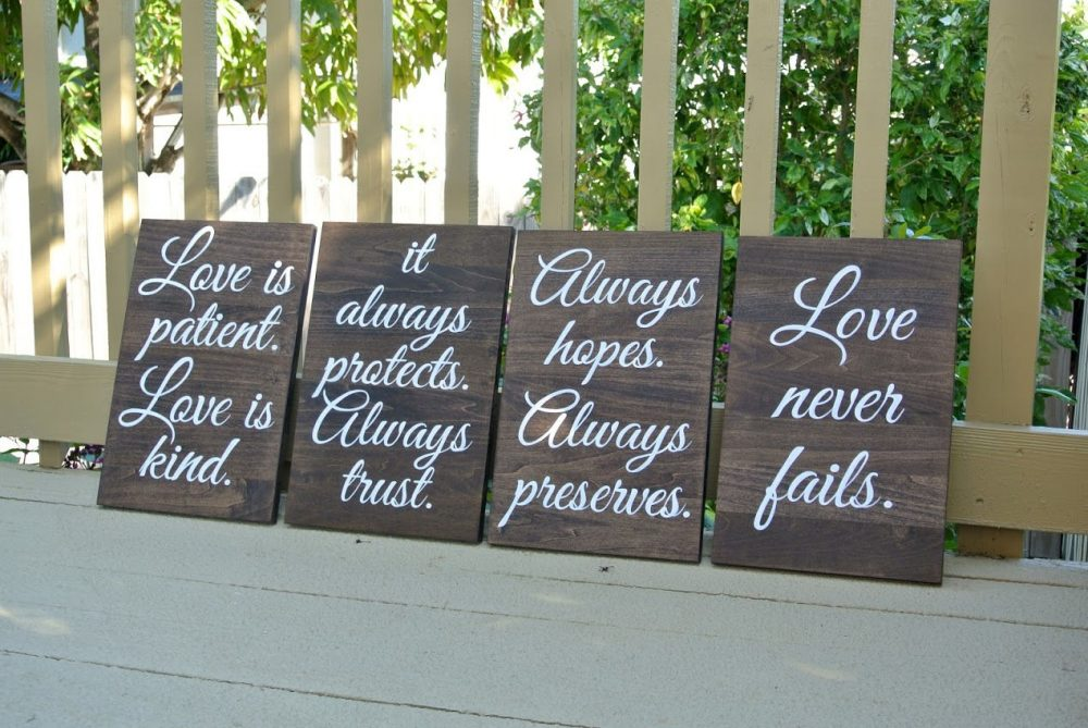 Wood Wedding Aisle Signs, Rustic Wooden Decor Ceremony, Love Is Patient Kind, Christian Gift
