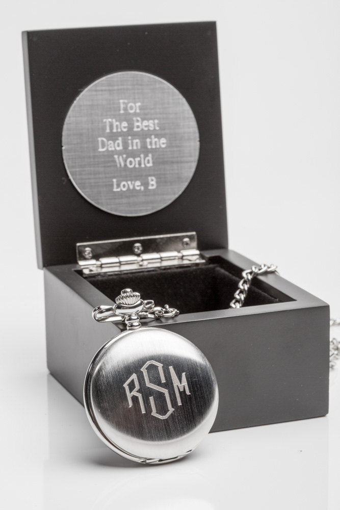 Groom Gift Idea, Engraved Pocket Watch in Personalized Wooden Box, Mens Watch, From Bride