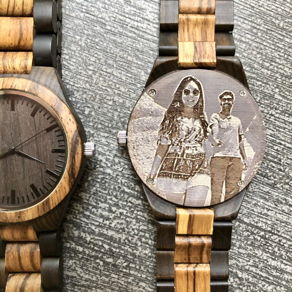 Engraved Photo Boyfriend Gift, Gift From Bride To Groom Wooden Watch
