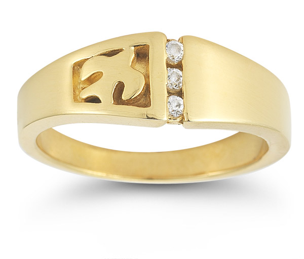 Christian Dove Diamond Trinity Ring in 14K Yellow Gold