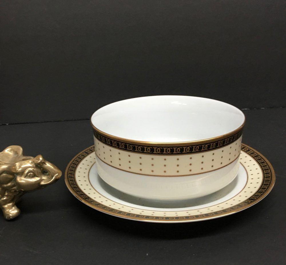 "Dolce Vita By Christian Dior Is A Fine China Gravy Boat W/Underplate W/Black Band Of ""Cds"" & Wider Cream Gold Dots - Free Shipping"