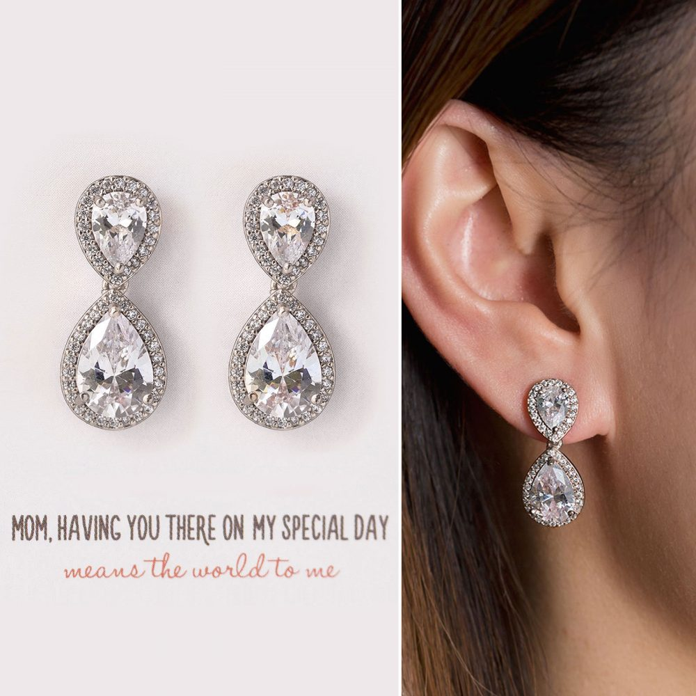 Gift For Mom, Mother Of The Groom Gift, Silver Earring, Bride Crystal E340-D