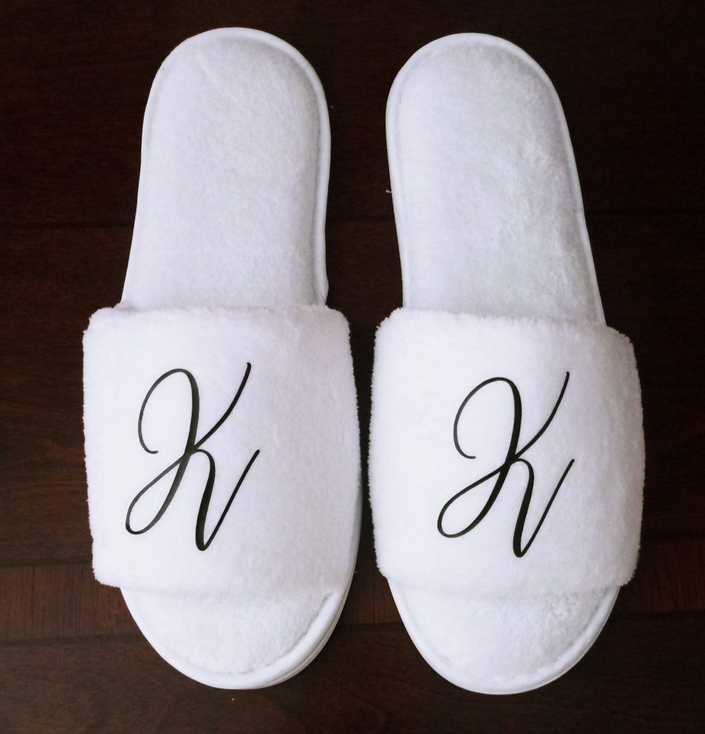 Monogrammed Slippers - Custom Bridesmaid Gift Girls Trip Initials Font 5