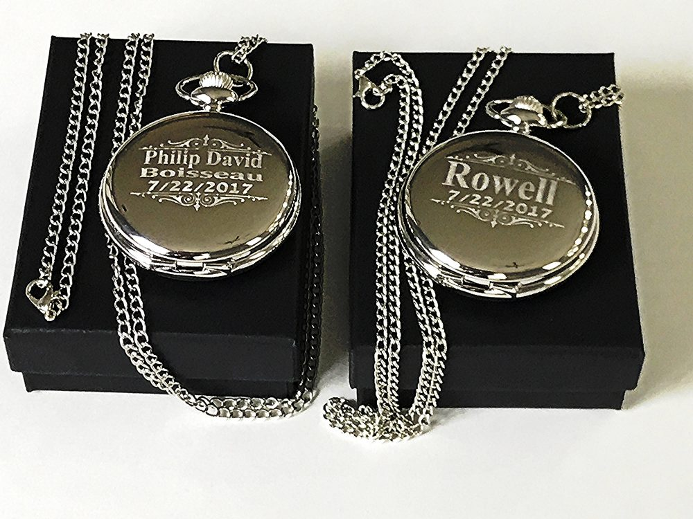 Groomsmen Gift - 2 Engraved Pocket Watches Vintage Personalized Watch in Box Custom Engraved Wedding Gifts For Him & Her