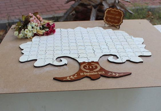 Personalized Wedding Guest Book, Wooden Tree Guest Book, Custom Wedding Guestbooks, Rustic Guestbook, Jigsaw Puzzle