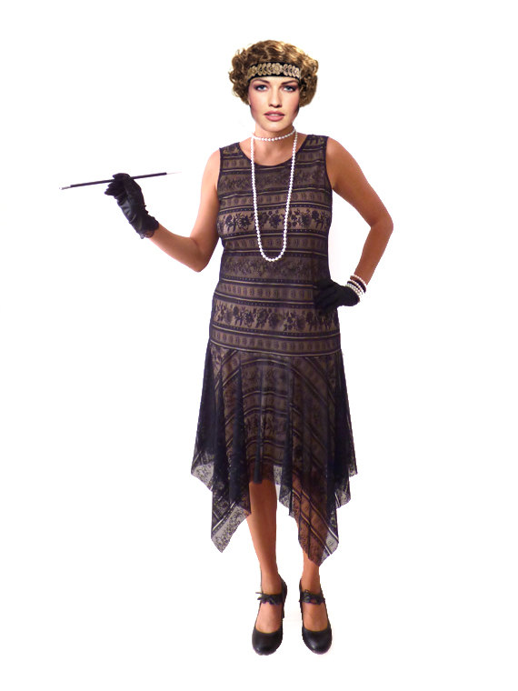 Black Lace Frapper Dress For 1920S Great Gatsby Party