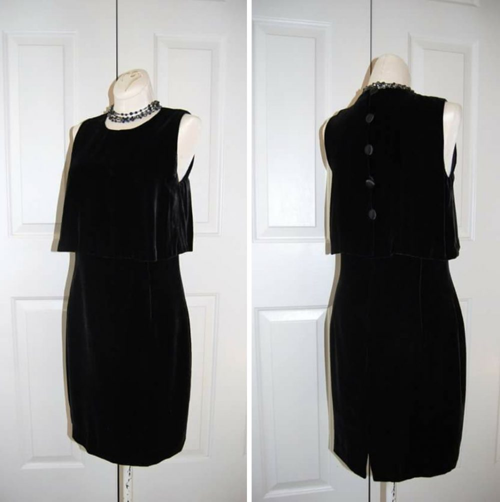 Black Velvet Dress, Jones New York, Little Sleeveless, Evening Wear, Party Classic Small, Dress For Her