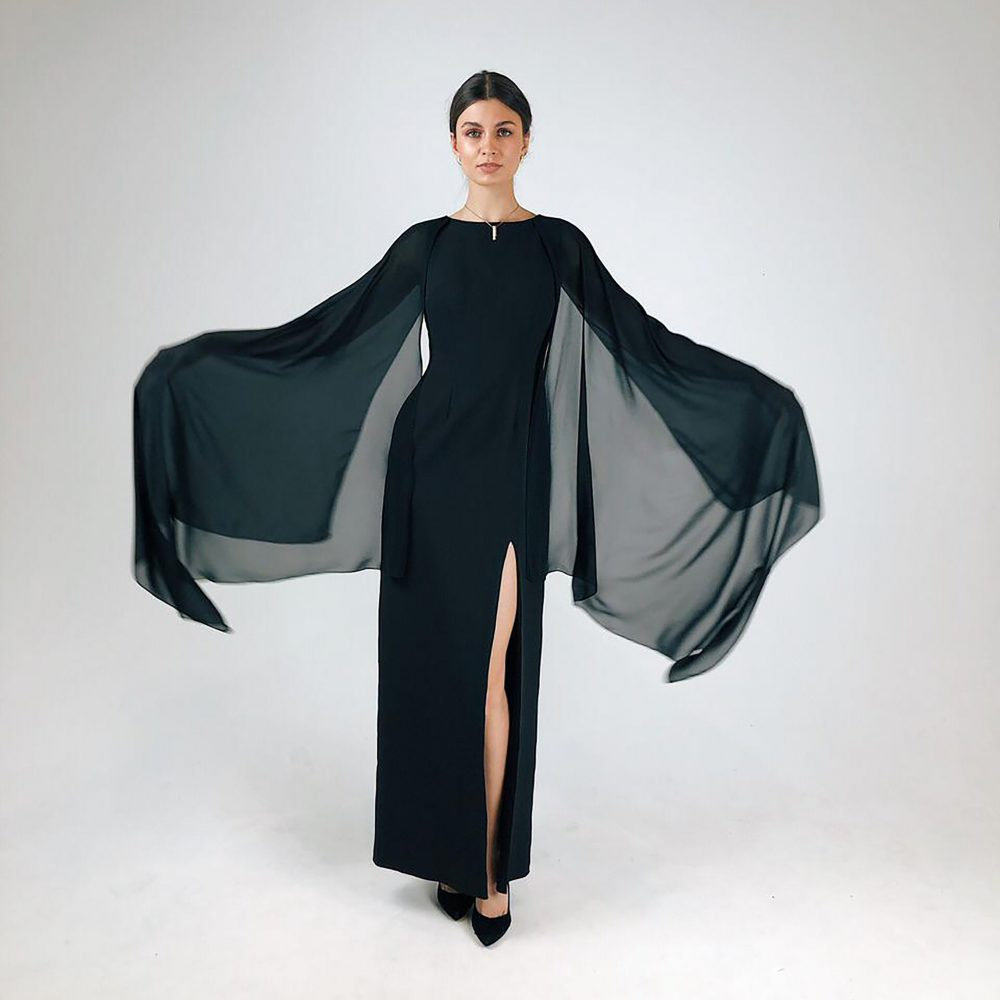 Long Black Formal Dress Ombre Cocktail Sexy Evening Gowns Airy Chiffon Sleeve Prom Little Bridesmaid Gown