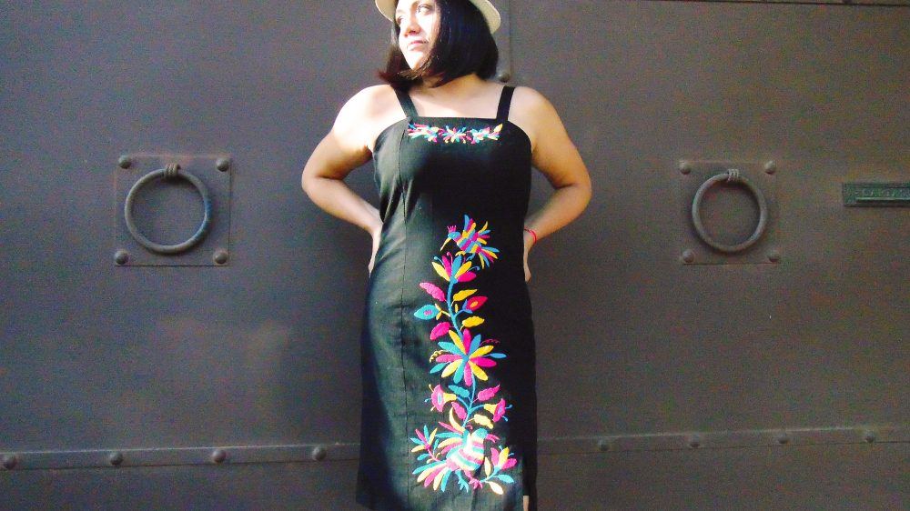 Mexican Embroider Sexy Dress, Little Black Dress Otomi Embroidery