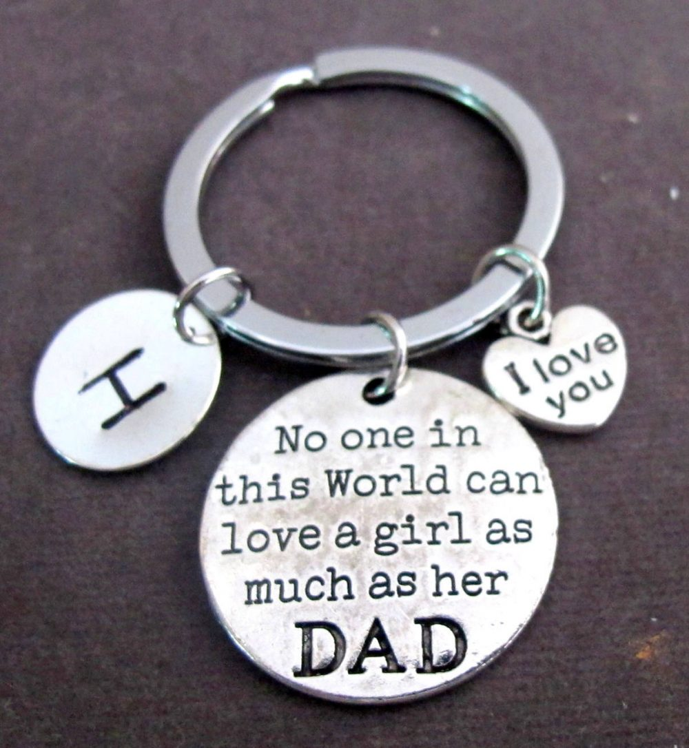 I Love You Dad Keychain, Father's Day Gift, Gift For Father, Gift Daughter, Daddy's Girl Keyring, Father Daughter Free Shipping Usa