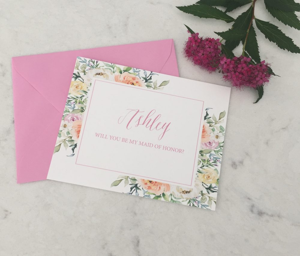 Personalized Bridesmaid Proposal Card | Will You Be My Bridesmaid Maid Of Honor Floral Bridal Party Cards
