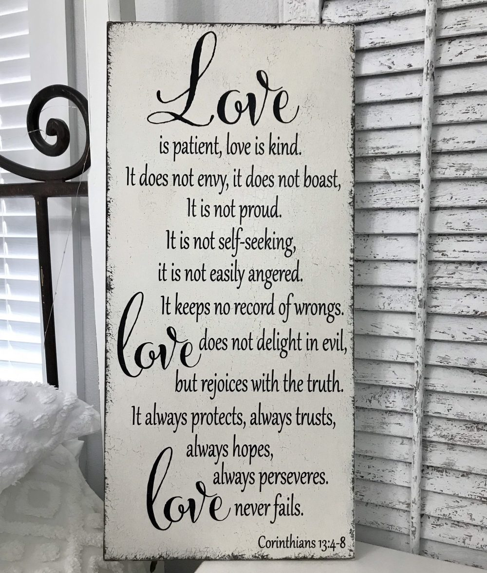 Wedding Signs, Love Is Patient, Kind, Bride & Groom Sign, Mr. Mrs. 14 X 30
