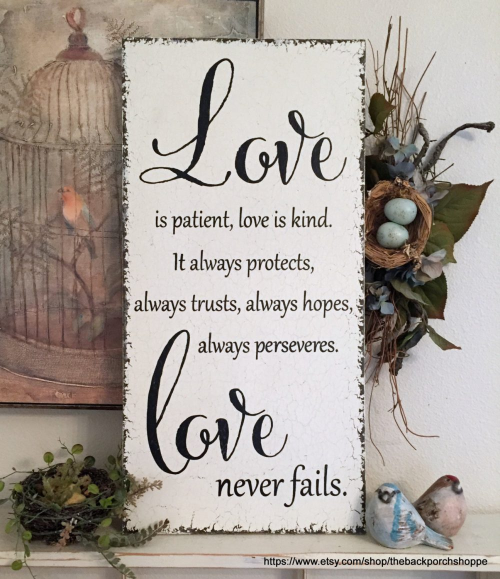 Wedding Signs, Love Is Patient, Kind, Bride & Groom Sign, Mr. Mrs. 24 X 12